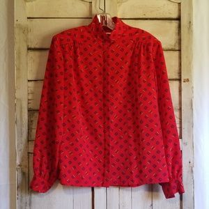 Vintage 90s Country Sophisticates Red sz 12 Blouse